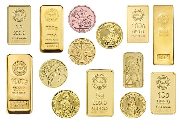 Gold bullion bars and coins