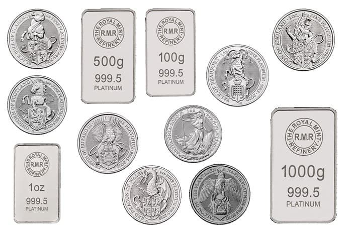 Platinum bullion bars and coins